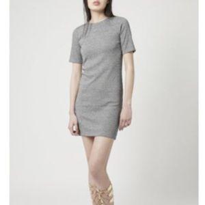 Topshop Gray Ribbed Bodycon Dress!